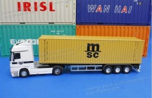 1:50 MSC Diecast Alloy Container Truck Model Ochre Yellow